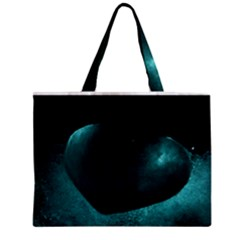 Teal Heart Zipper Tiny Tote Bags