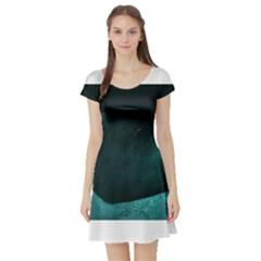 Teal Heart Short Sleeve Skater Dresses