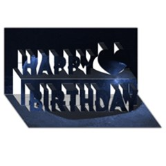 Blue Heart Collection Happy Birthday 3D Greeting Card (8x4)