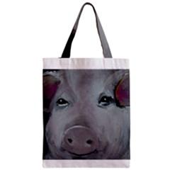 Piggy No. 1 Zipper Classic Tote Bags