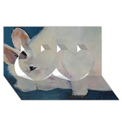 Piggy No  2 Twin Hearts 3d Greeting Card (8x4)