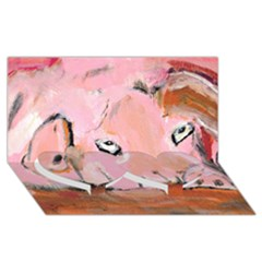 Piggy No.3 Twin Heart Bottom 3D Greeting Card (8x4)
