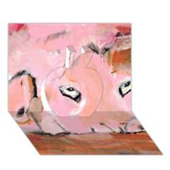 Piggy No 3 Apple 3d Greeting Card (7x5)