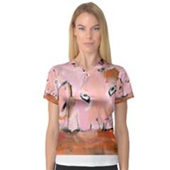 Piggy No 3 Women s V Neck Sport Mesh Tee