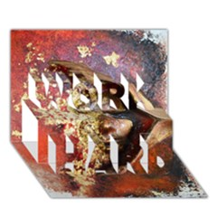 Red Mask WORK HARD 3D Greeting Card (7x5)