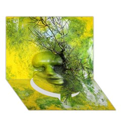 Green Mask Circle Bottom 3D Greeting Card (7x5)