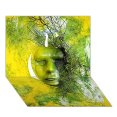 Green Mask Apple 3d Greeting Card (7x5)