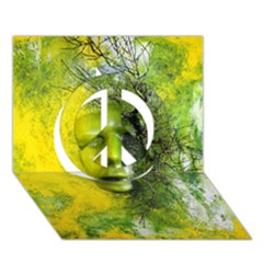 Green Mask Peace Sign 3D Greeting Card (7x5)