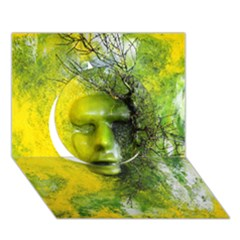Green Mask Circle 3D Greeting Card (7x5)