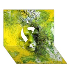 Green Mask Ribbon 3D Greeting Card (7x5)