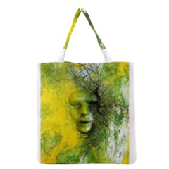 Green Mask Grocery Tote Bags