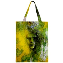 Green Mask Zipper Classic Tote Bags
