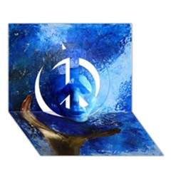 BLue Mask Peace Sign 3D Greeting Card (7x5)