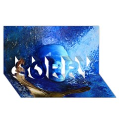 Blue Mask Sorry 3d Greeting Card (8x4)