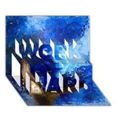 Blue Mask Work Hard 3d Greeting Card (7x5)