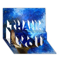 BLue Mask THANK YOU 3D Greeting Card (7x5)