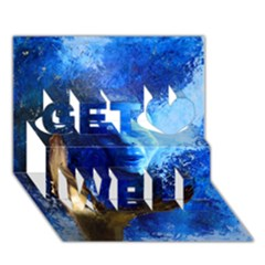 BLue Mask Get Well 3D Greeting Card (7x5)