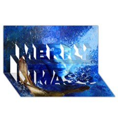 BLue Mask Merry Xmas 3D Greeting Card (8x4)