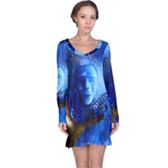 BLue Mask Long Sleeve Nightdresses