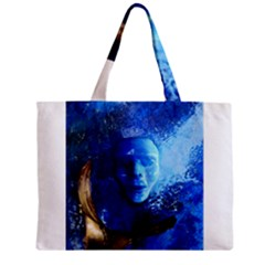 BLue Mask Zipper Tiny Tote Bags