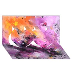 Nebula Twin Hearts 3d Greeting Card (8x4)
