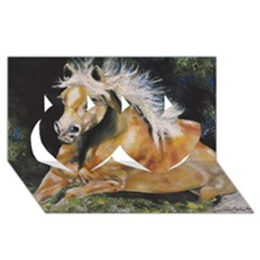 Mustang Twin Hearts 3d Greeting Card (8x4)