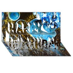 Space Horses Happy Birthday 3d Greeting Card (8x4)