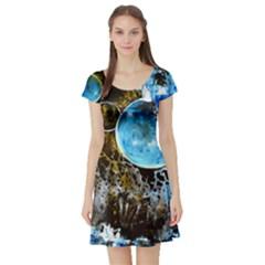 Space Horses Short Sleeve Skater Dresses