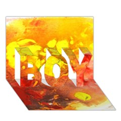 Fire, Lava Rock Boy 3d Greeting Card (7x5)
