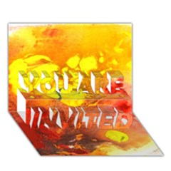 Fire, Lava Rock You Are Invited 3d Greeting Card (7x5)