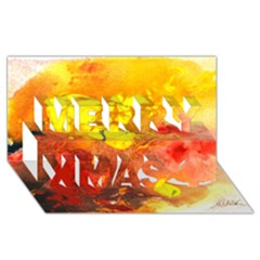 Fire, Lava Rock Merry Xmas 3D Greeting Card (8x4)
