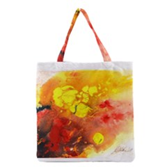 Fire, Lava Rock Grocery Tote Bags