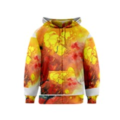 Fire, Lava Rock Kids Zipper Hoodies