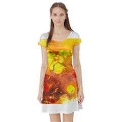 Fire, Lava Rock Short Sleeve Skater Dresses