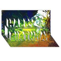 Abstract Landscape Happy Birthday 3D Greeting Card (8x4)