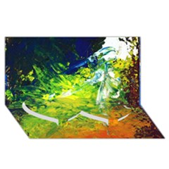 Abstract Landscape Twin Heart Bottom 3D Greeting Card (8x4)