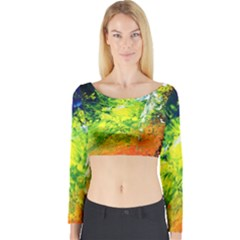 Abstract Landscape Long Sleeve Crop Top