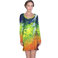Abstract Landscape Long Sleeve Nightdresses