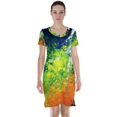 Abstract Landscape Short Sleeve Nightdresses