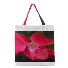 Bright Red Rose Grocery Tote Bags