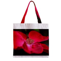 Bright Red Rose Zipper Grocery Tote Bags