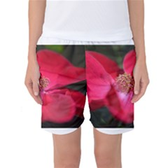 Bright Red Rose Women s Basketball Shorts