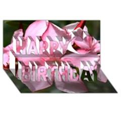 Pink Oleander Happy Birthday 3d Greeting Card (8x4)
