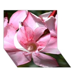 Pink Oleander Heart 3D Greeting Card (7x5)