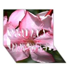 Pink Oleander You Are Invited 3d Greeting Card (7x5)