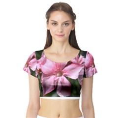 Pink Oleander Short Sleeve Crop Top
