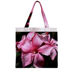 Pink Oleander Zipper Grocery Tote Bags