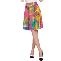 Colorful Floral Abstract Painting A Line Skirt