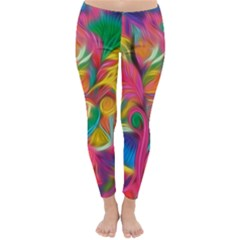 Colorful Floral Abstract Painting Winter Leggings
