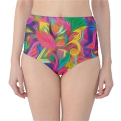 Colorful Floral Abstract Painting High-Waist Bikini Bottoms